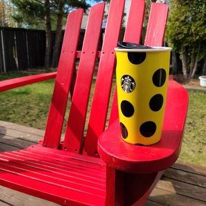 Starbucks Ceramic Travel Mug Black Polka Dots